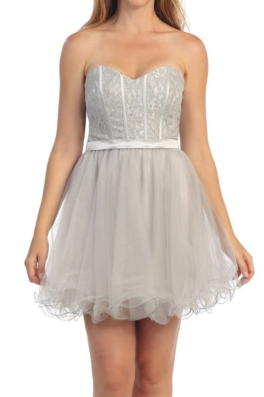 Strapless Jeweled Lace Embellished Bodice w/ A Short Tulle Skirt