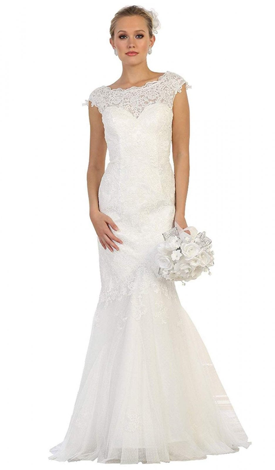 Normal Girl Size Plus Size Wedding Dress With Lace Sheer Sweetheart Bodice