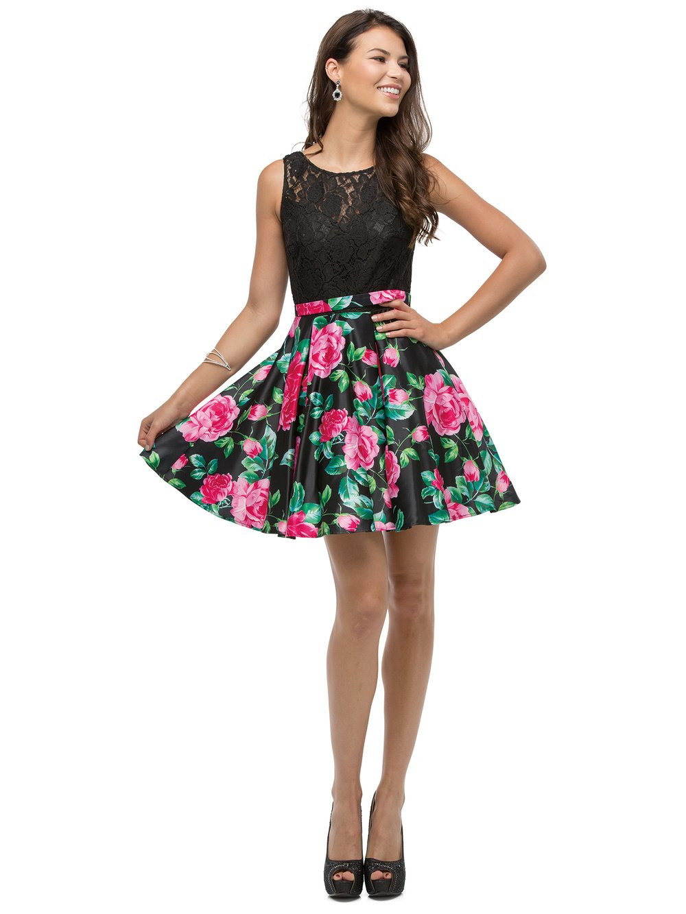 SHORT LACE TOP WITH FLORAL PRINT SKIRT DRESS