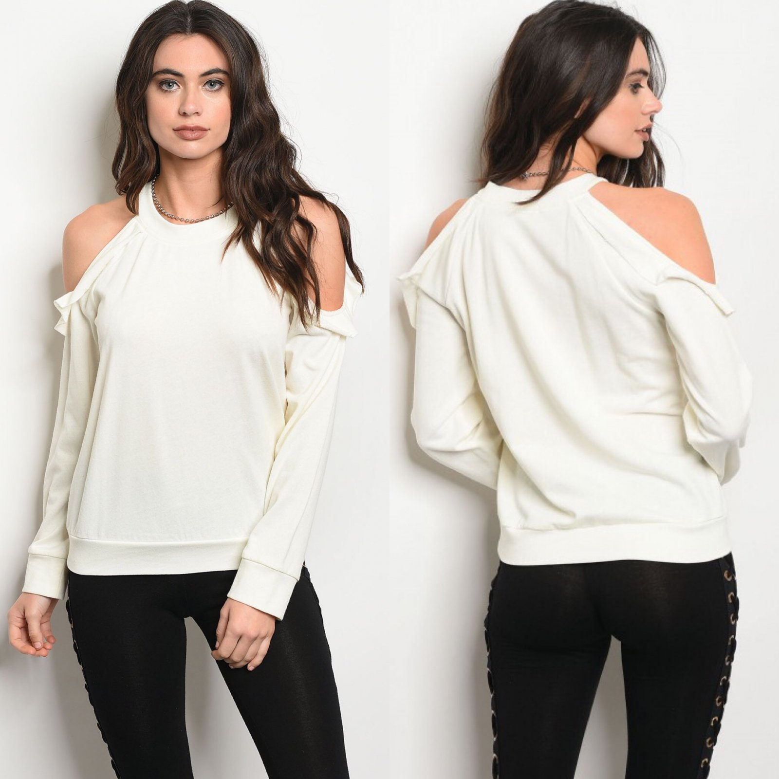 Ivory Cold Shoulder Top With Ruffles