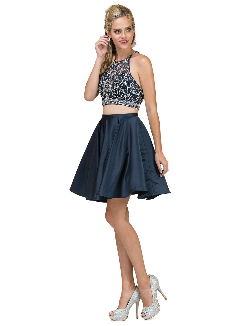 Short Two-Piece Knee-Length Homecoming Dress