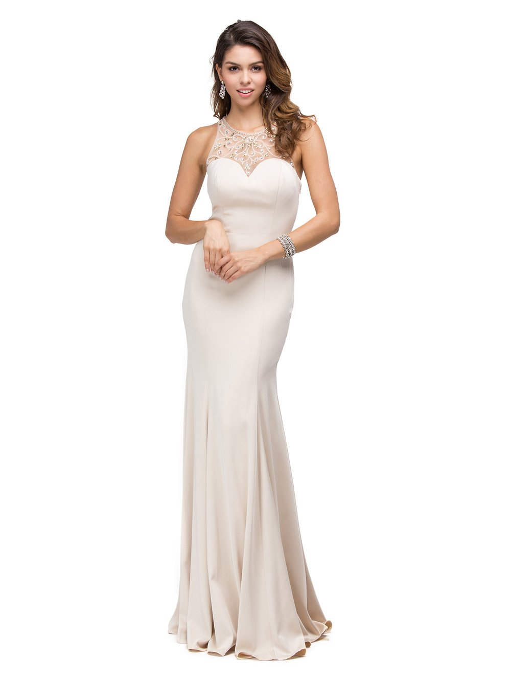 Champagne High Neck Jersey Fitted Prom Dress