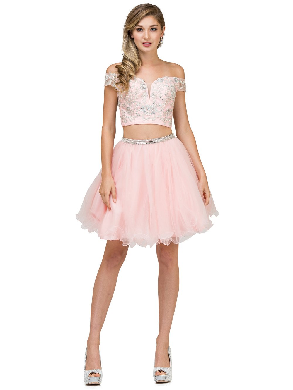 Off The Shoulders Two Piece Homecoming Dress