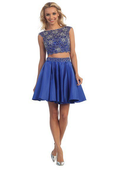 Two Piece Embellished Top with Taffeta Skirt