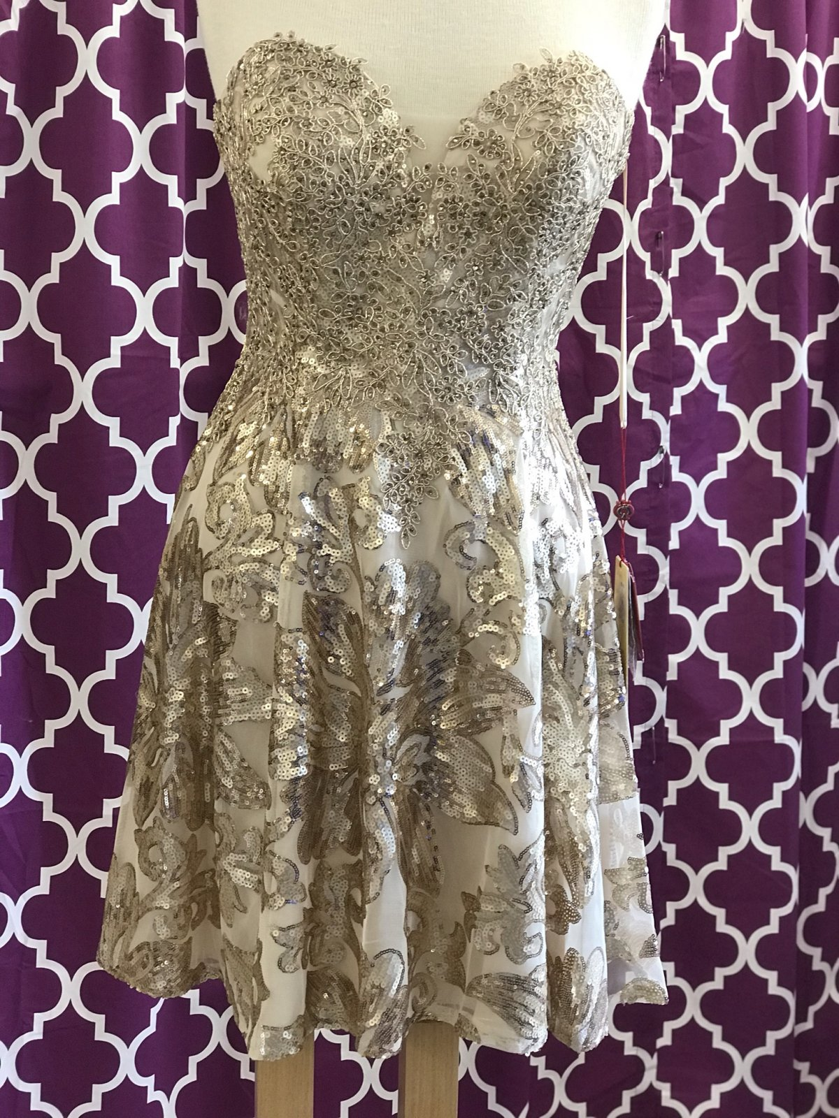 Gold Strapless Beaded Lace Applique Homecoming Dress