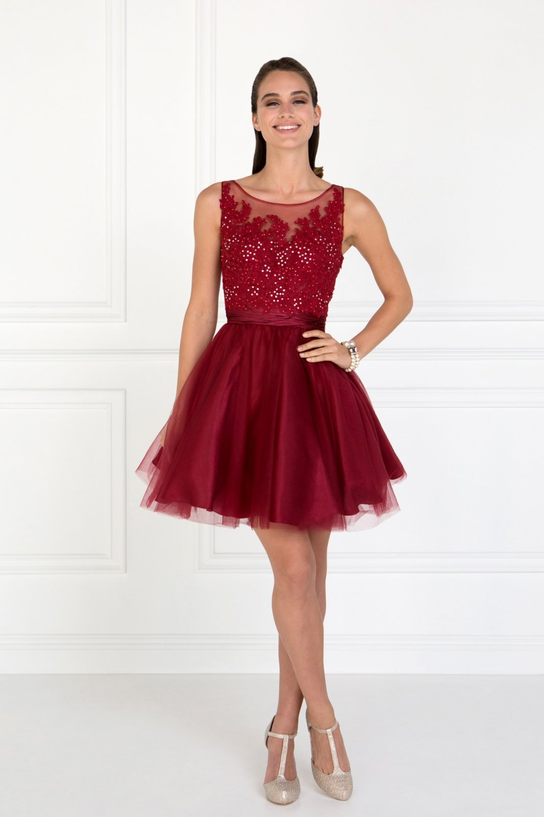 Embroidered Bodice Tulle Short Dress