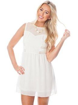 Cream Dress w/ Mesh Panel