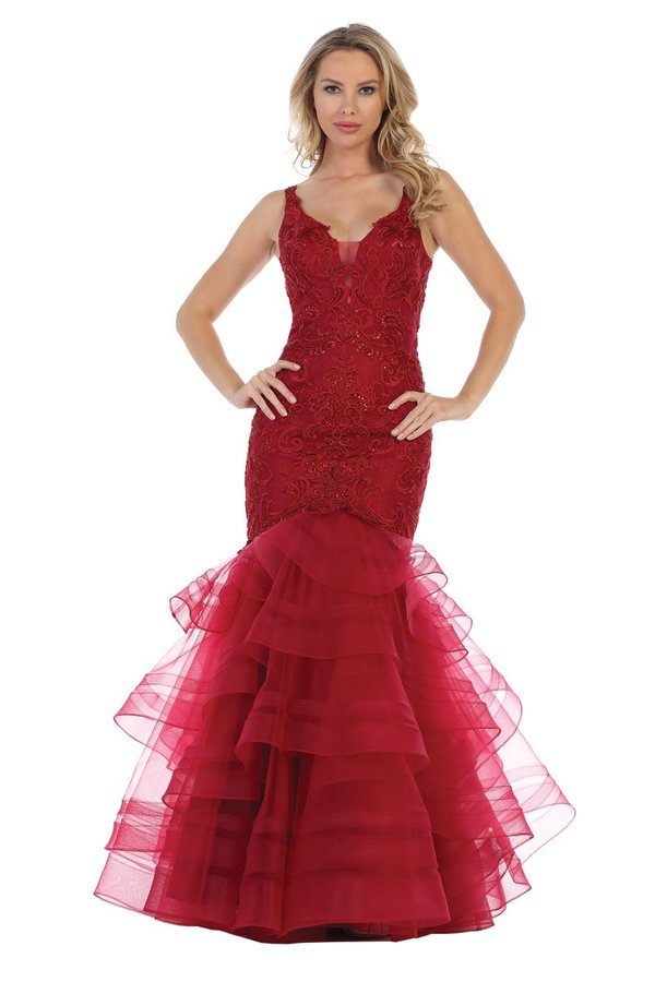 Burgundy V-Neck Fit & Flare With Tiered Tulle Skirt
