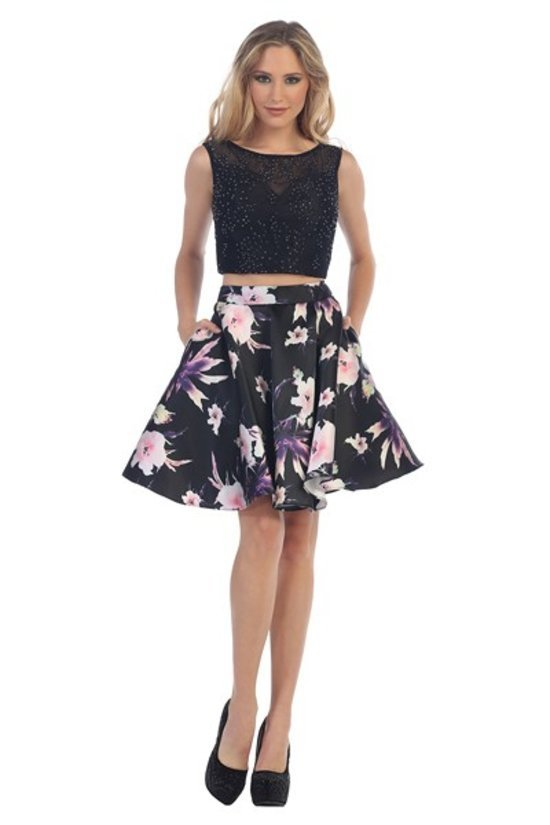 Two Piece Embellished Top with Floral Print Skirt