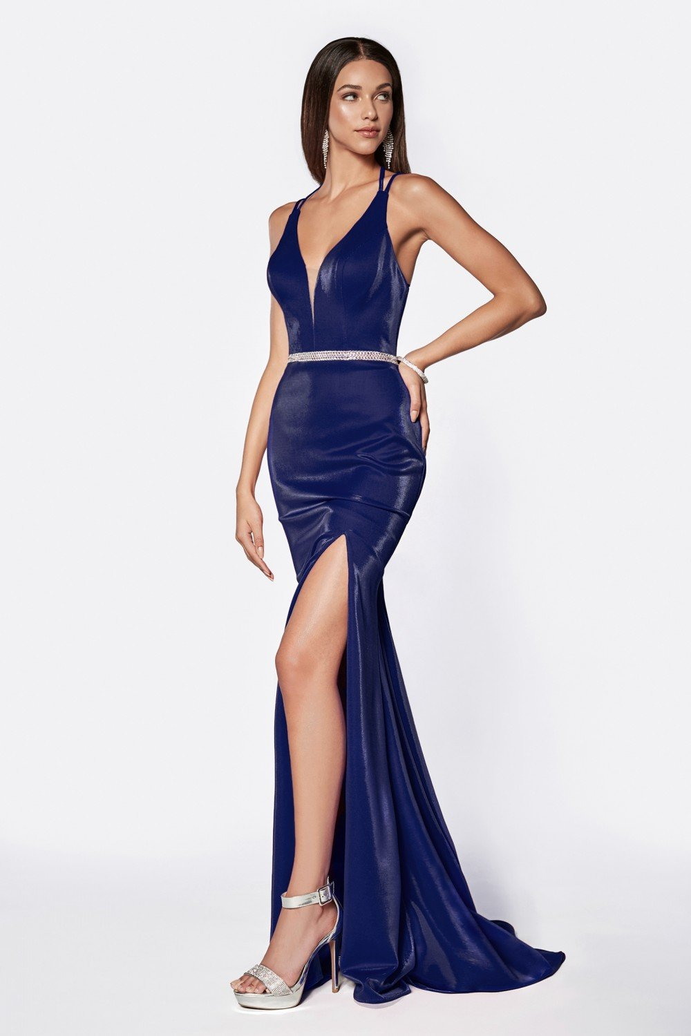 Cobalt Blue fitted deep plunging neckline gown with beaded belt and leg slit.