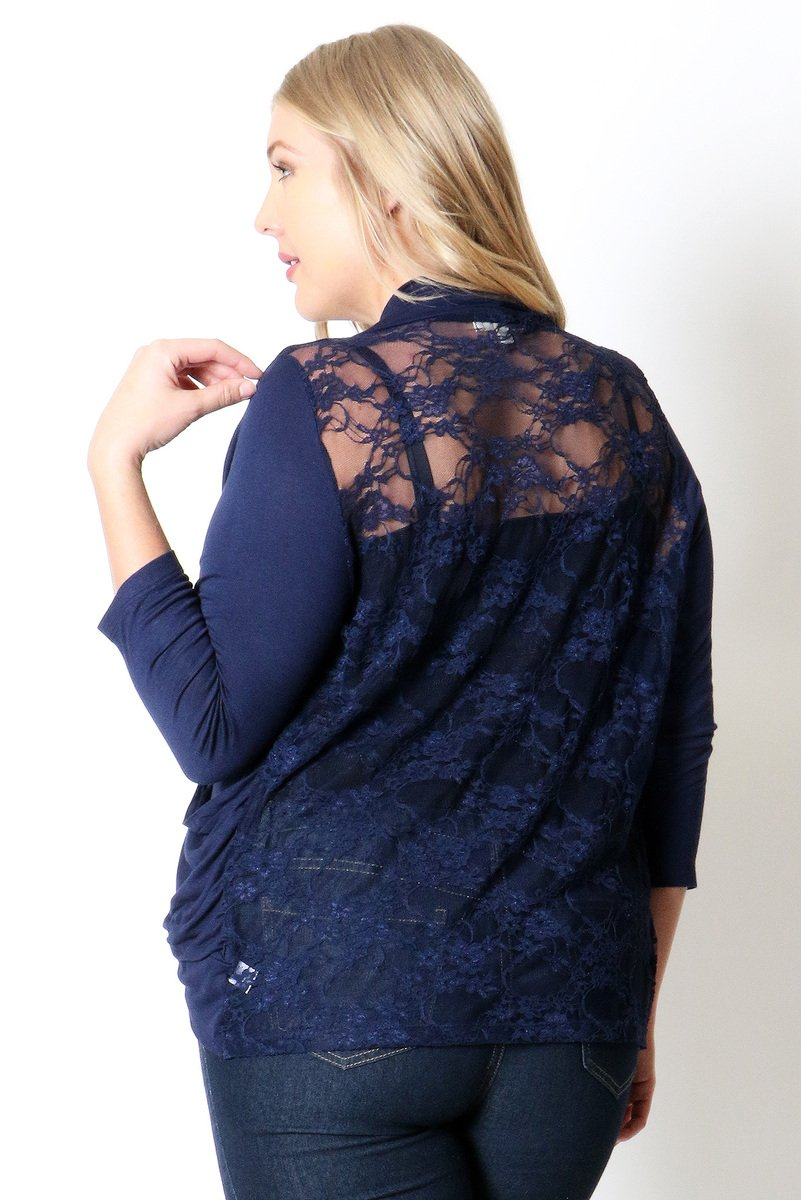 RAYON ALL LACE BACK OPEN CARDIGAN