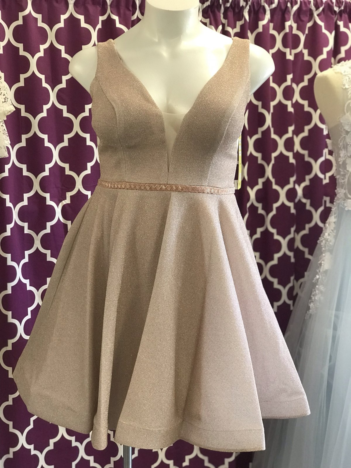 Champagne Deep V-Neckline Homecoming Dress With Accent Belt