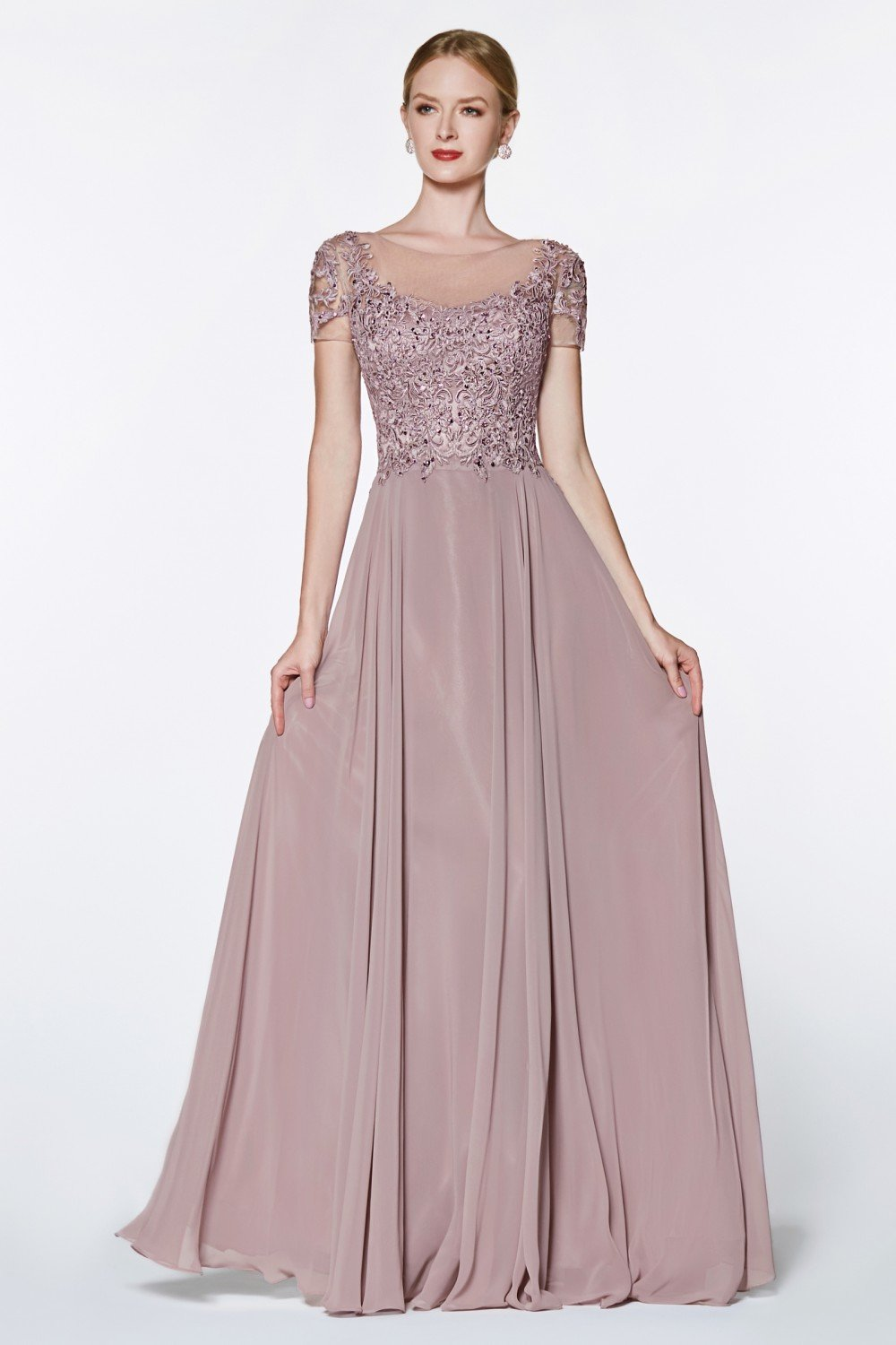 Mauve A-line chiffon gown with lace bodice and flutter sleeve.