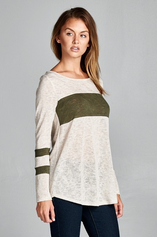 Long sleeve rounded neckline color block detail tunic top in Olive