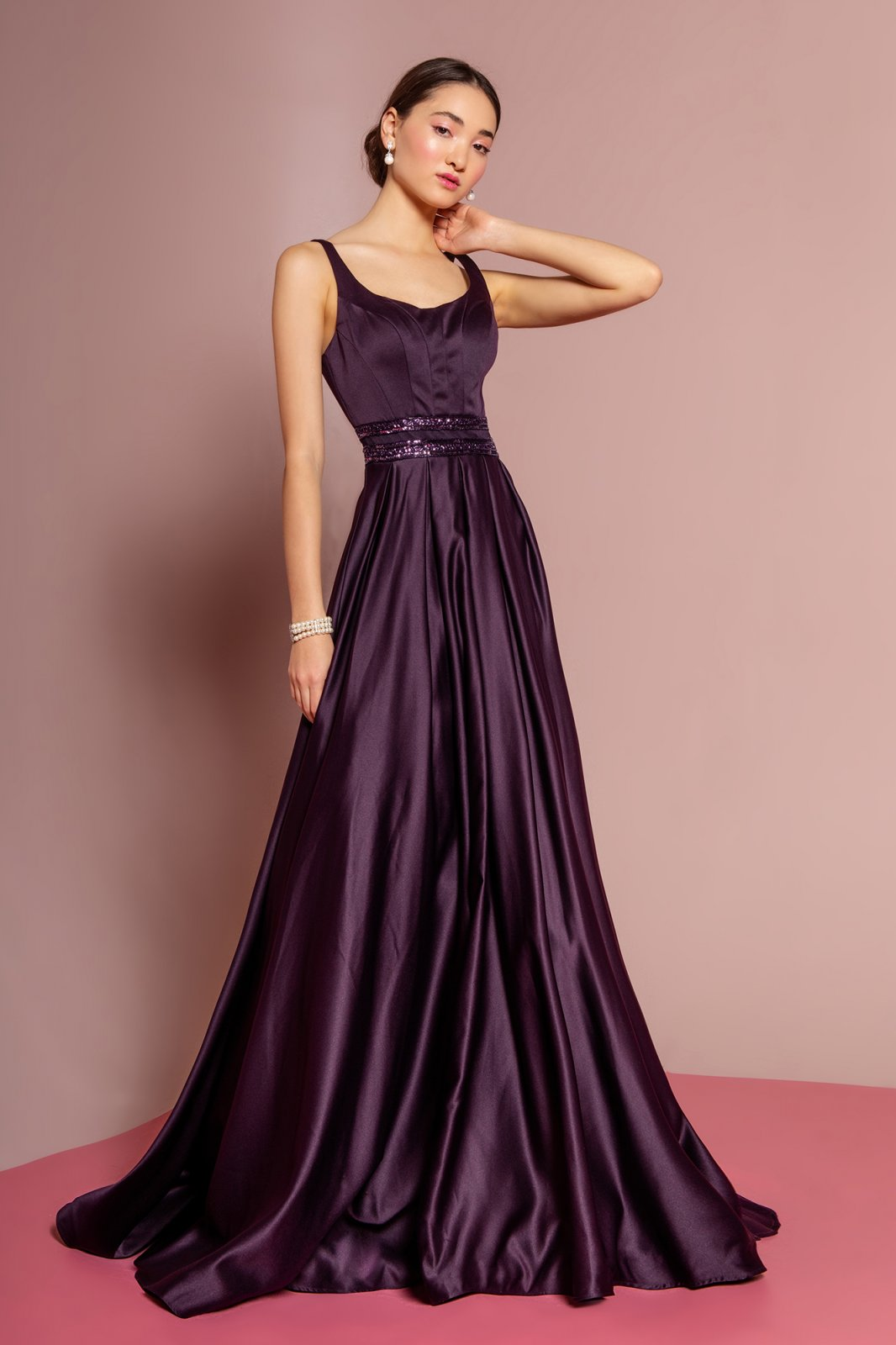 Eggplant Scoop Neck Satin A-Line Dress With Sheer Lace Back