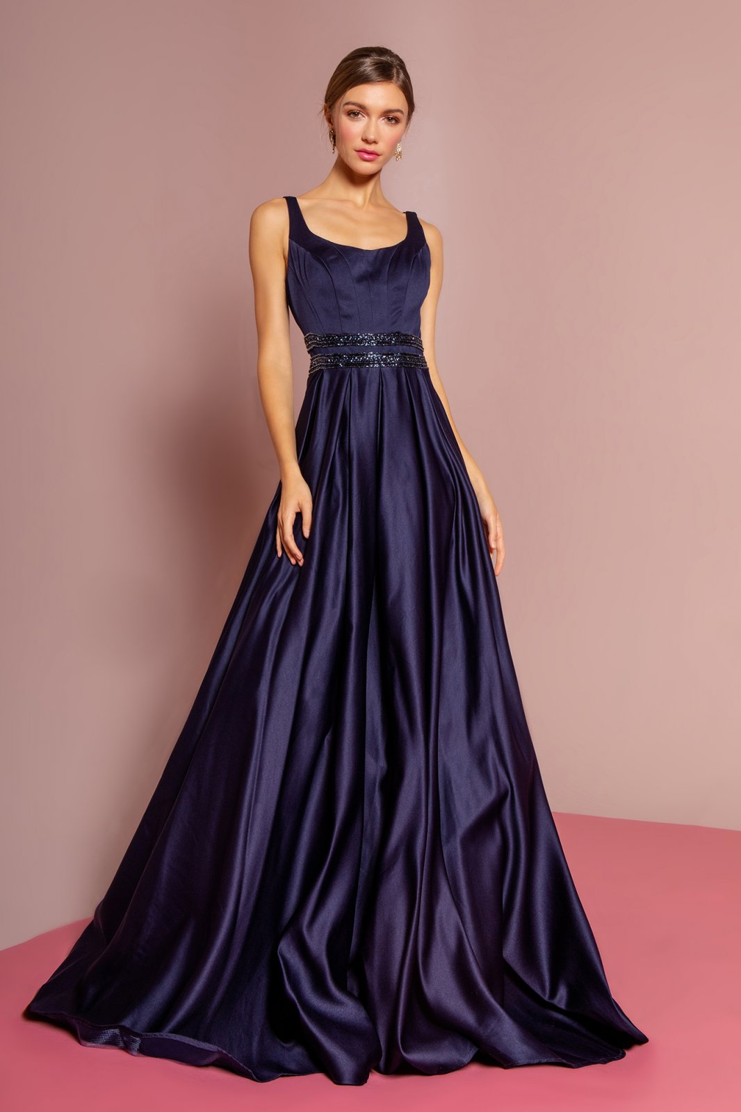 Navy Scoop Neck Satin A-Line Dress With Sheer Lace Back