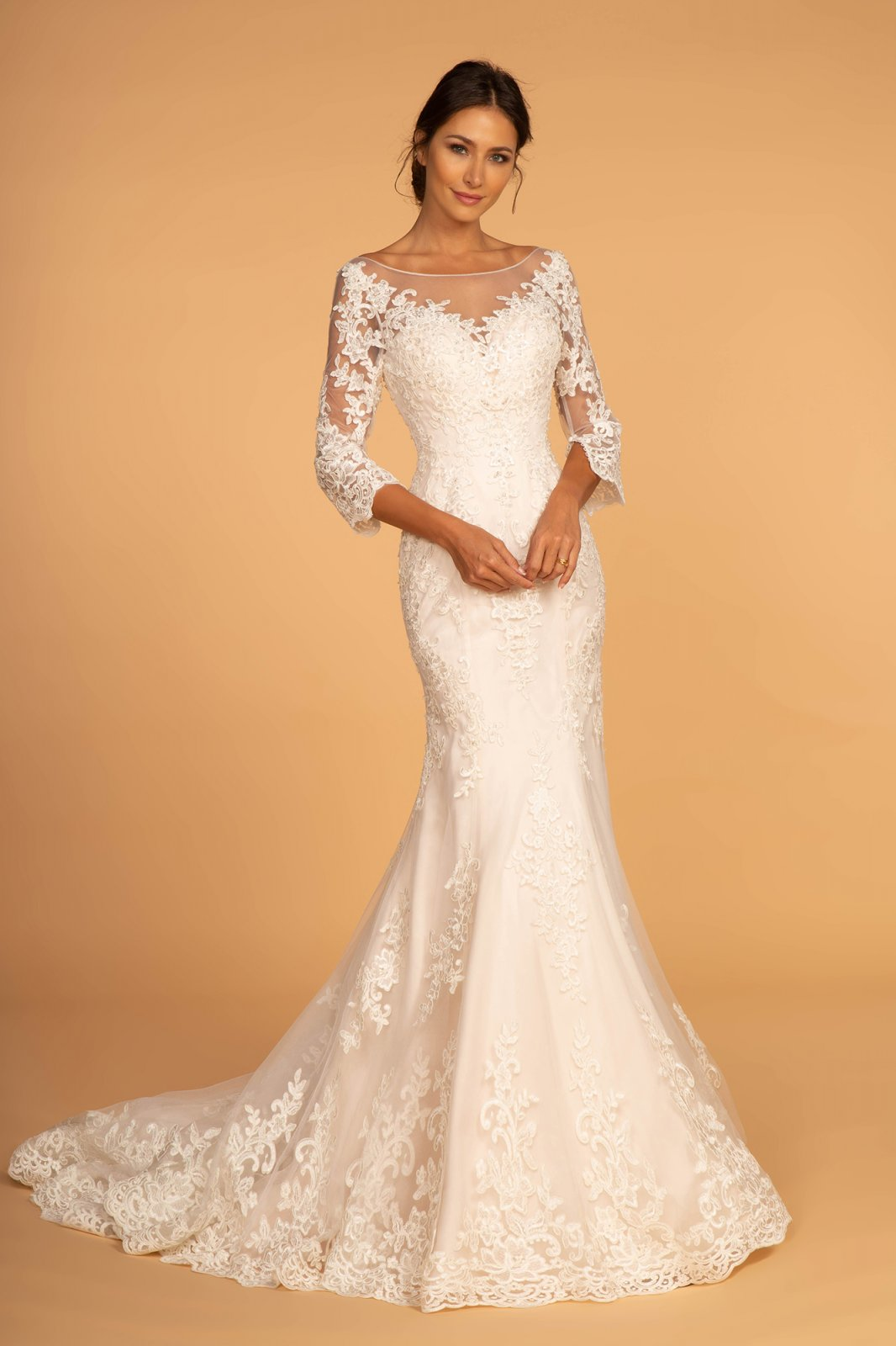 Three Quarter Sleeve With V-Back Lace & Beading Embellishment