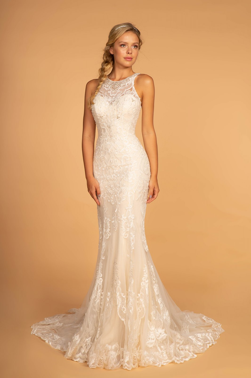 Ivory/Champagne Lace Illusion With Beading Wedding Gown
