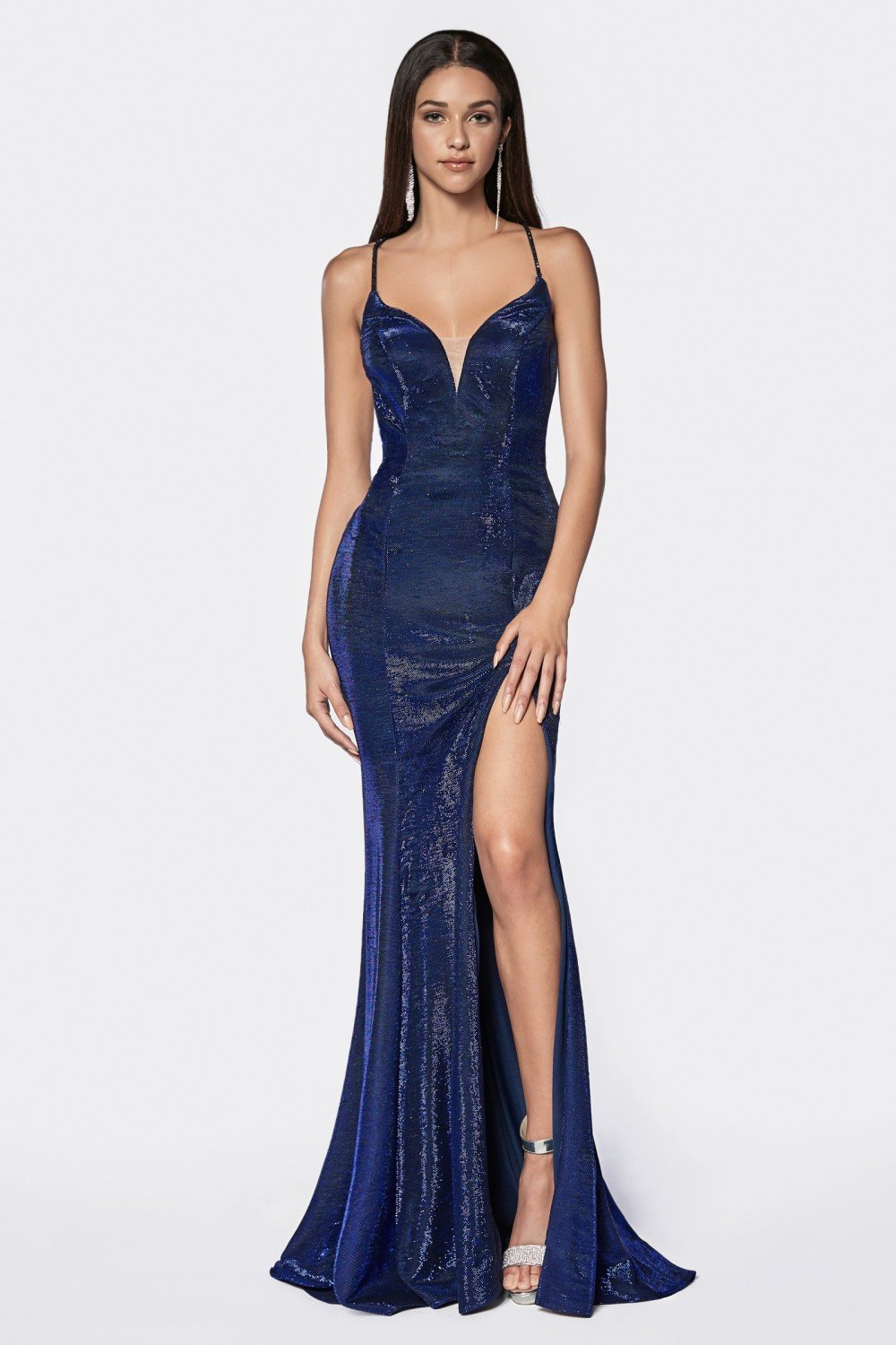 Metallic blue fitted metallic gown with criss cross beaded back ans leg slit.