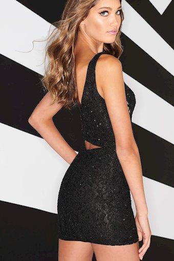 Black lace sheath dress V-back with a bandeau feature and rhinestones.
