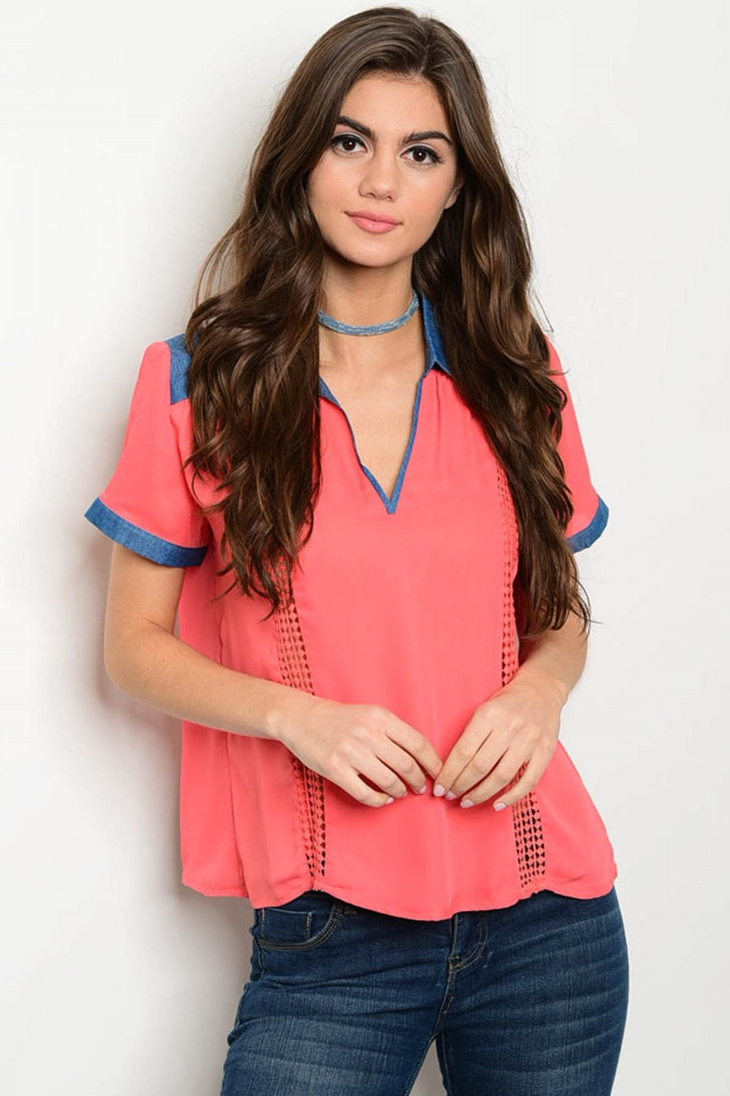 Coral Top With Denim Trim
