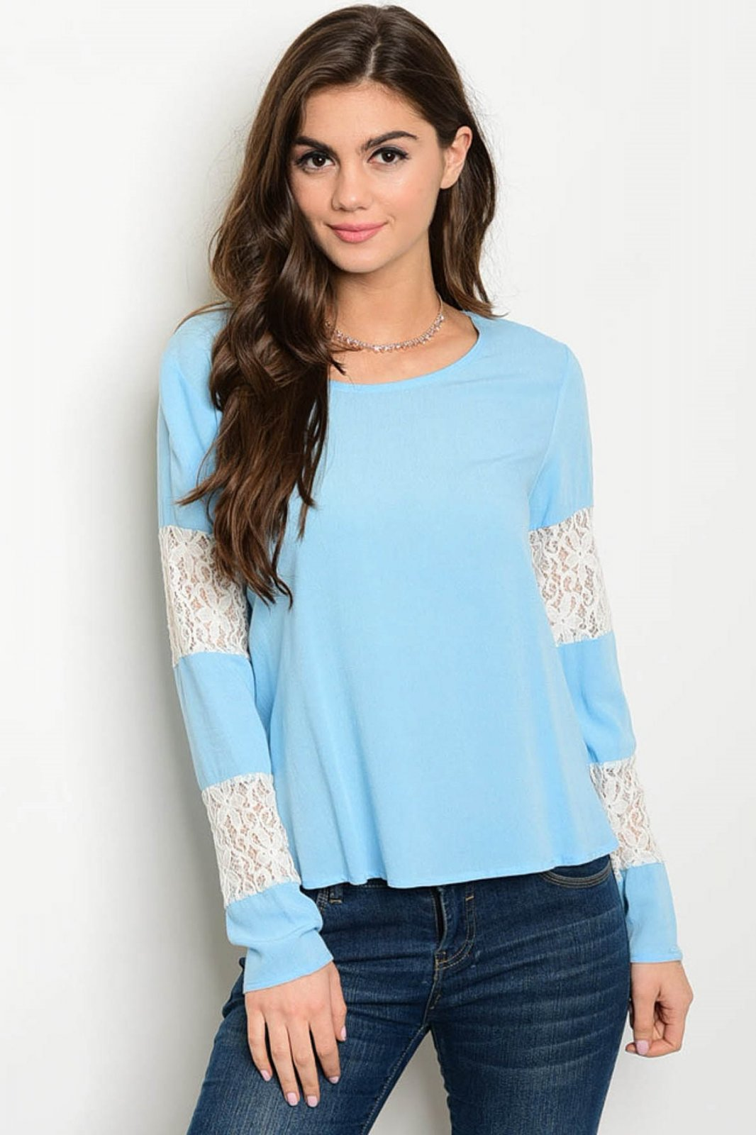 Long Sleeve Light Blue Top With Lace Detail
