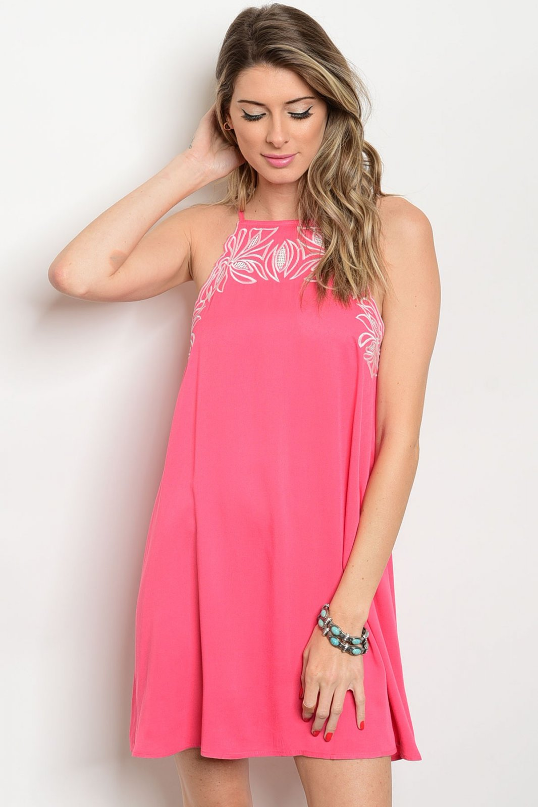 Halter Top Coral Dress With Embroidered St