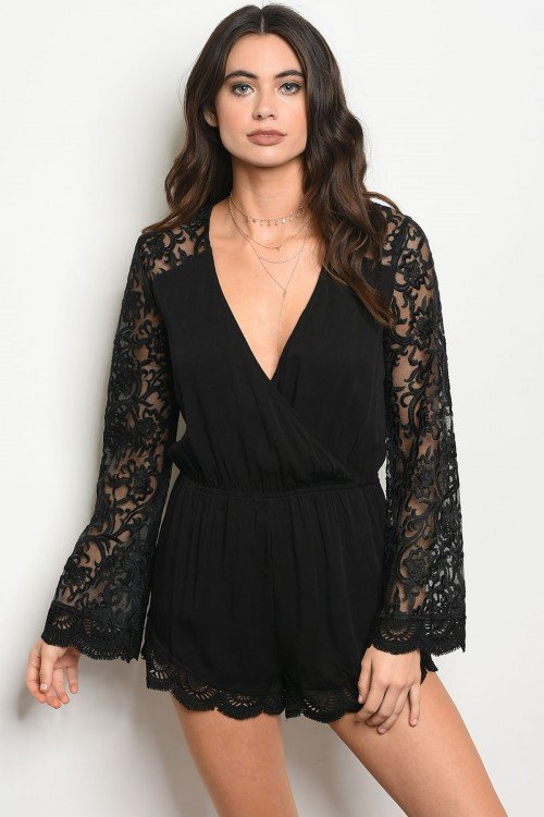 Black Lace Romper With Long Bell Sleeves
