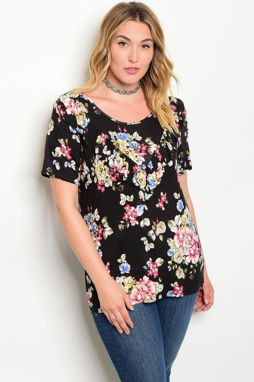 Plus Size Black Floral Print Top