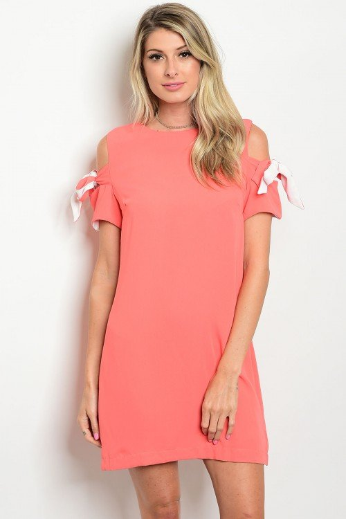 Coral Cold-Shoulder Shift Dress with Bow Accents