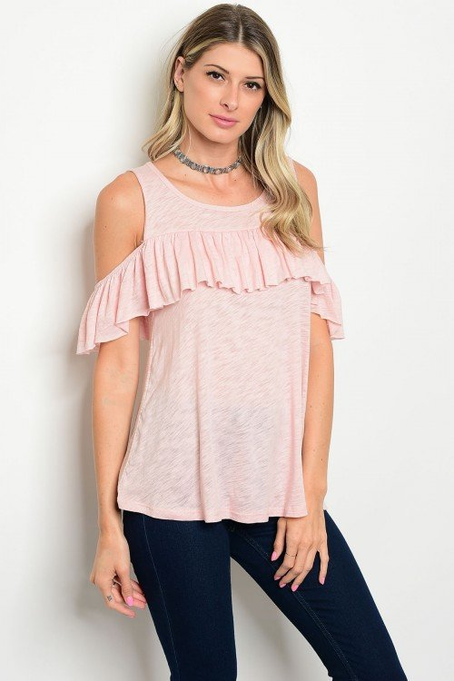 Blush Cold Shoulder with Ruffle Top