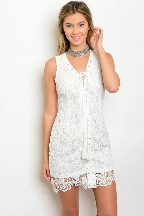 Off White Lace Front Crocheted Shift Dress