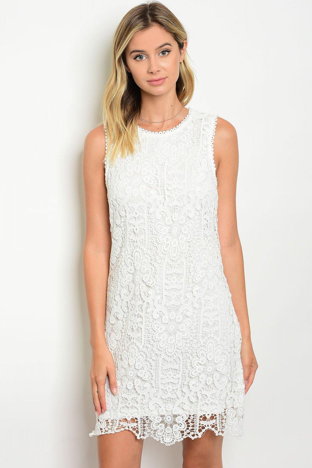 Off White Crochet Lace Shift Dress
