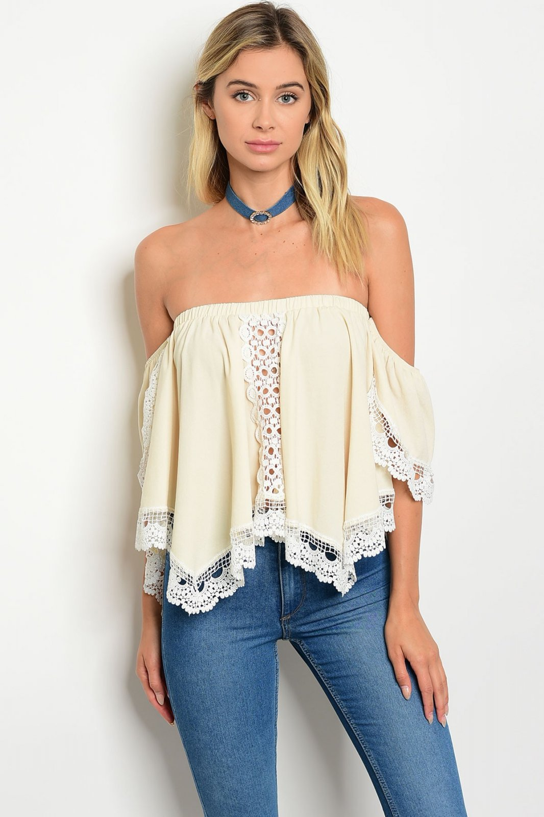 Off The Shoulders Lace Crop Top