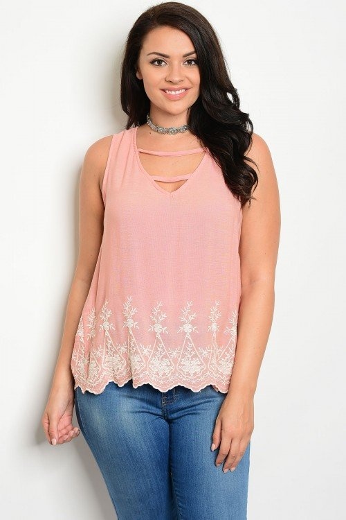 Plus Size Sleeveless Embroidered Top
