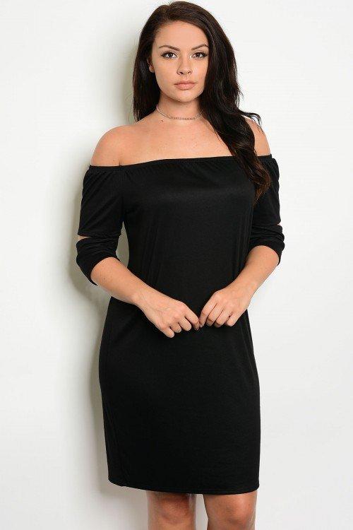 Plus Size Off The Shoulder Black Dress