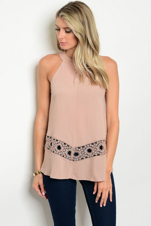 Taupe Halter Top with Lace Trim