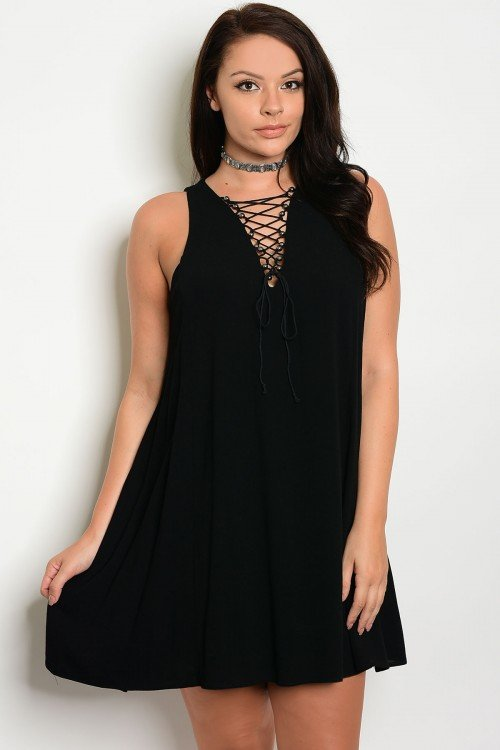 Plus Size Lace Up Tee Dress