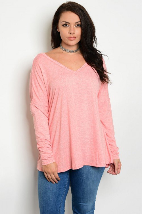 Plus Size Coral Long Sleeve Top