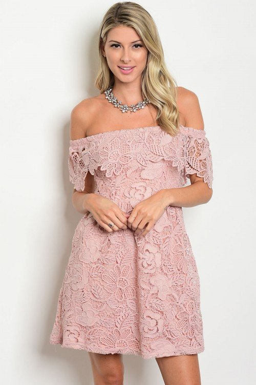 Off The Shoulder Mauve Crochet Dress
