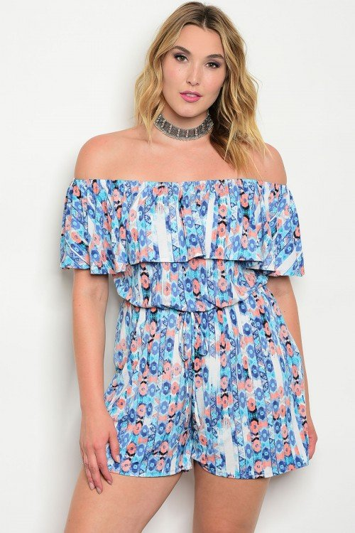 Plus Size Blue & Peach Floral Romper