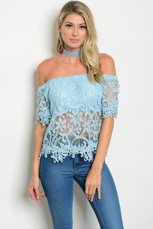 Blue Off The Shoulders Crocheted Top