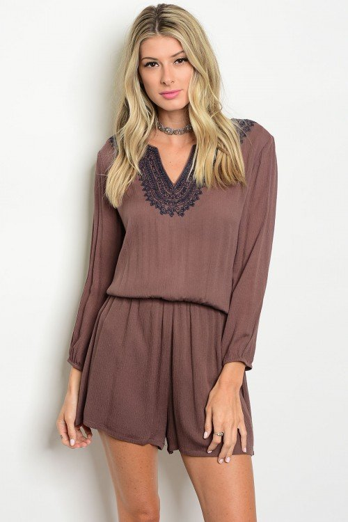 Mocha Romper With Navy Embroidery Detail