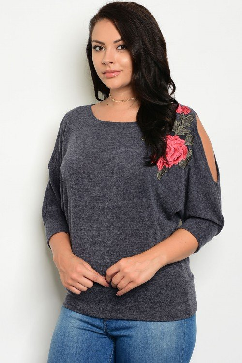 Plus Size Cold Shoulder Top With Floral Applique