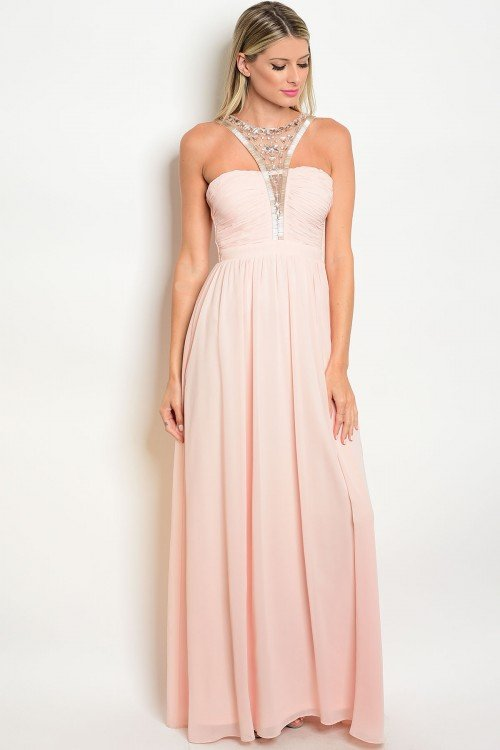 Beaded High Neck Gown