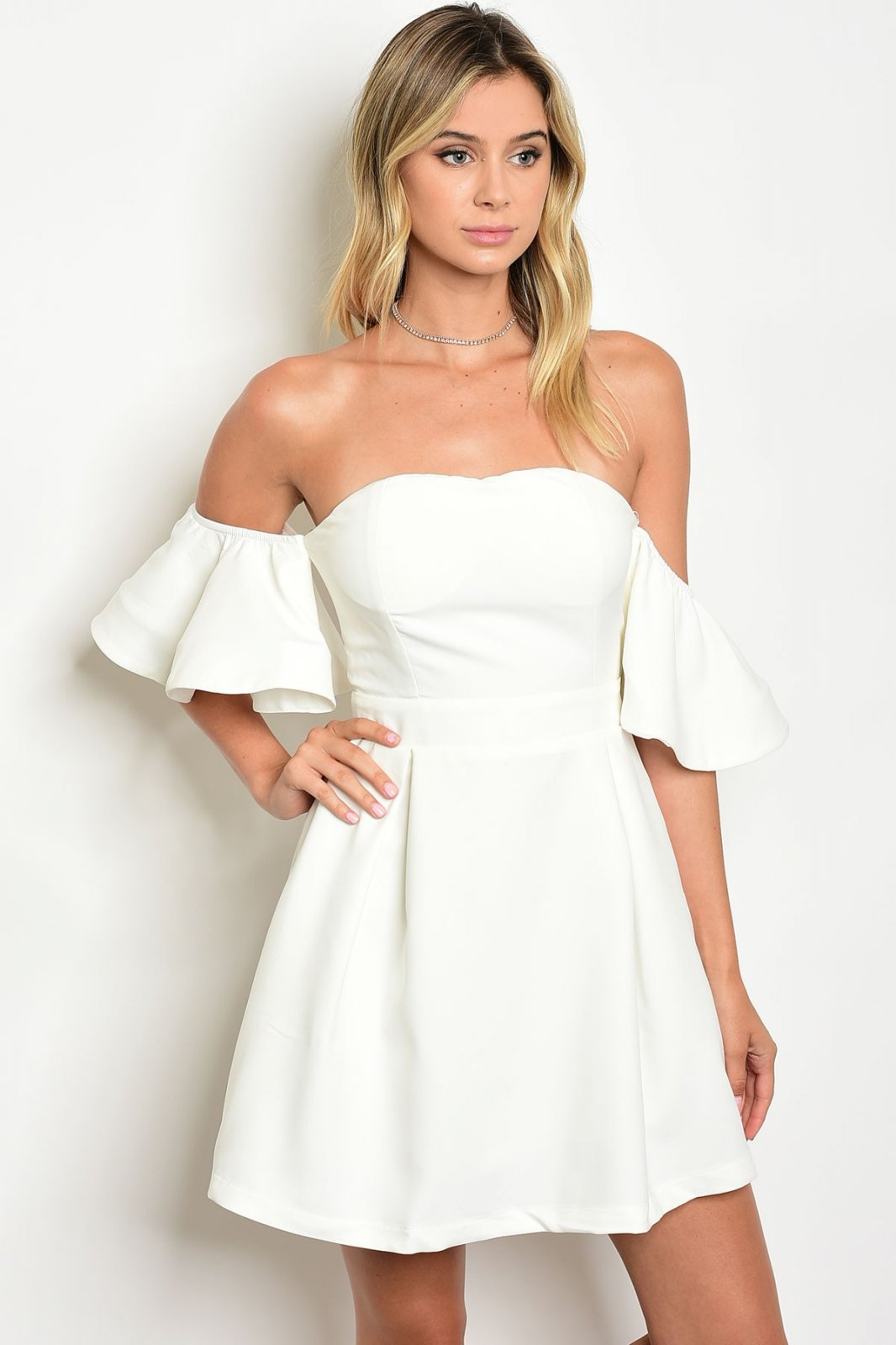 Off The Shoulder Ruffle Sleeve Dress