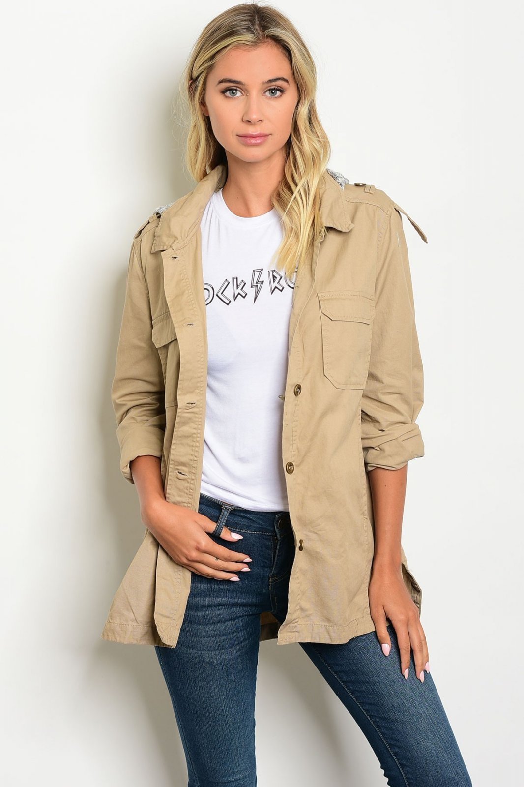 KHAKI GRAY UTILITY JACKET