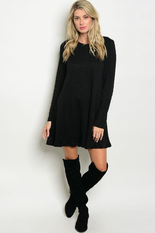 BLACK SWEATER KNIT DRESS