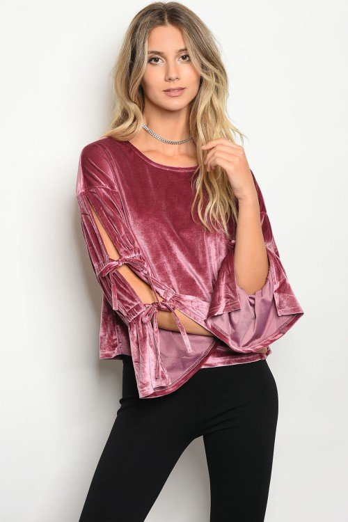 VELVET MAUVE TOP WITH TIED SLEEVES