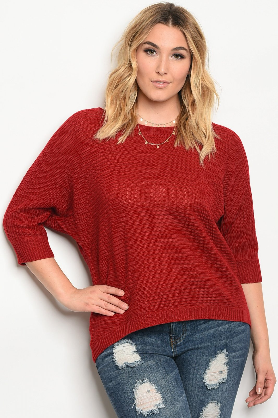 BURGUNDY PLUS SIZE TOP